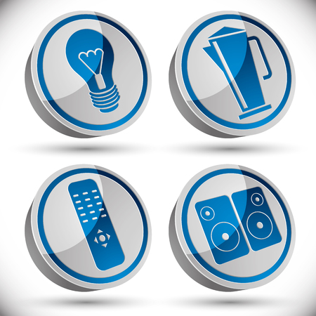 tv remote: Household appliances icons set, light bulb, teapot, tv remote control, speakers.