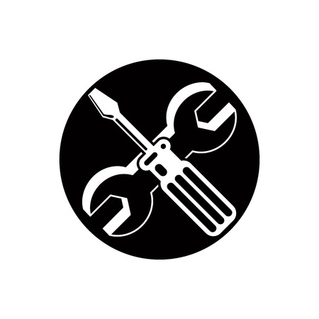 pictogramme: Repair icon with wrench and screwdriver, vector. Illustration