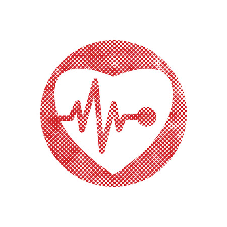 excitation: Cardiology icon with heart and cardiogram, vector icon with pixel print halftone dots texture.