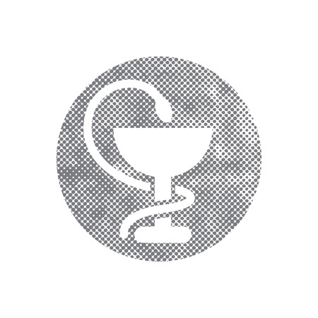 taught: Pharmacy Icon with Caduceus Symbol with pixel print halftone dots texture. Illustration