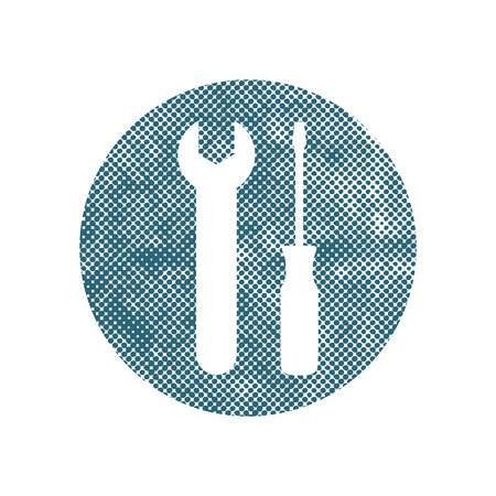 Repair icon with wrench and screwdriver, vector symbol with pixel print halftone dots texture. Vector