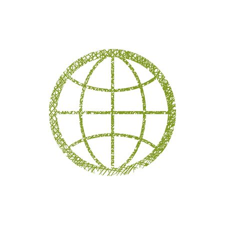 simplistic icon: Earth simplistic vector icon with hand drawn lines texture.