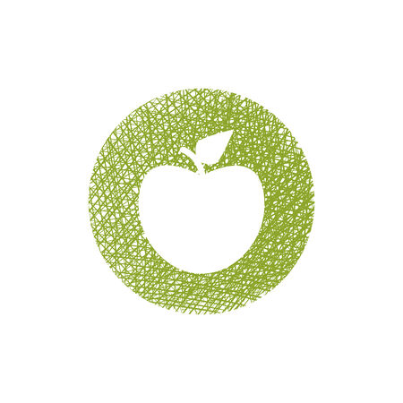 Green apple icon with hand drawn lines texture. Vector