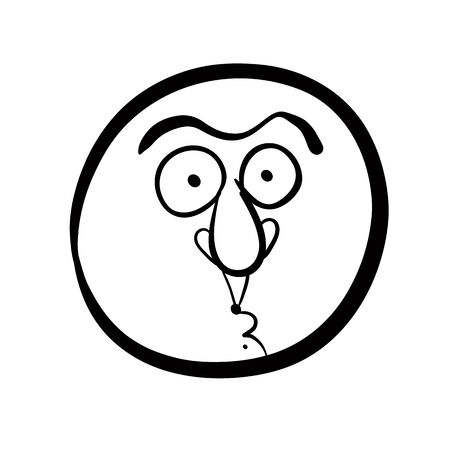 disorientated: Funny cartoon face, black and white lines vector illustration. Illustration