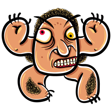 disorientated: Weird cartoon monster, absolute crazy numskull portrait