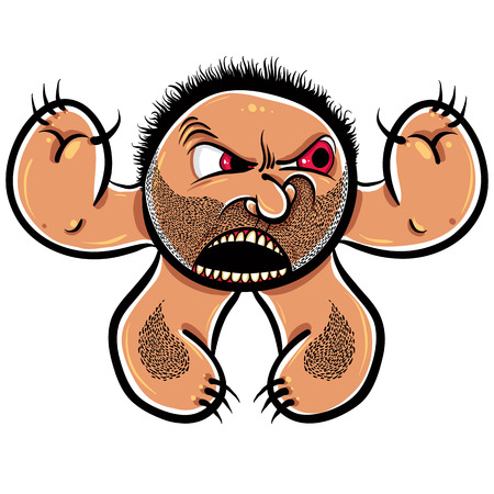 nutty: Angry cartoon monster with stubble, vector illustration. Illustration
