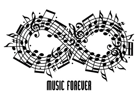 Forever music concept black and white design, infinity symbol made with musical notes and treble clef