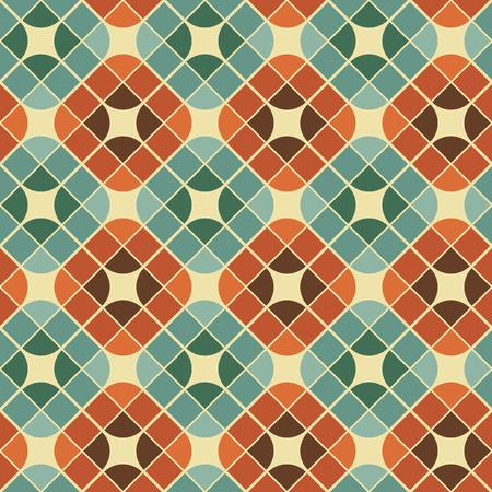 抽象的なカラフルなタイルをシームレスなパターン、レトロなスタイルのベクトルの背景の繰り返し。
