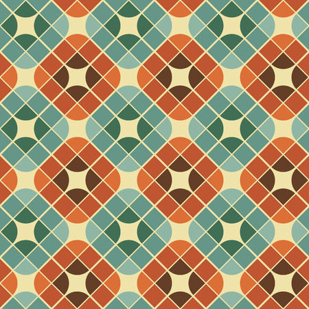 Abstract colorful tiles seamless pattern, retro style repeating vector background.  Ilustração