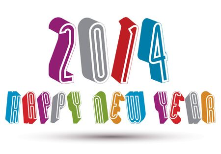 2014 Happy New Year card with phrase made with 3d retro style geometric letters. Vector