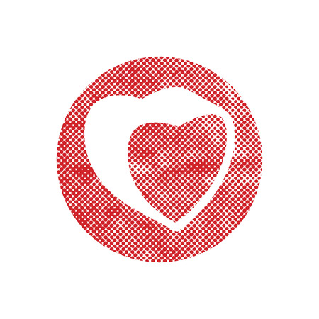 Heart vector icon with pixel print halftone dots texture. Vector