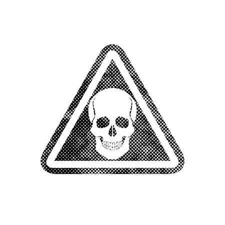 Skull warning sign with pixel print halftone dots texture, vector. Vector