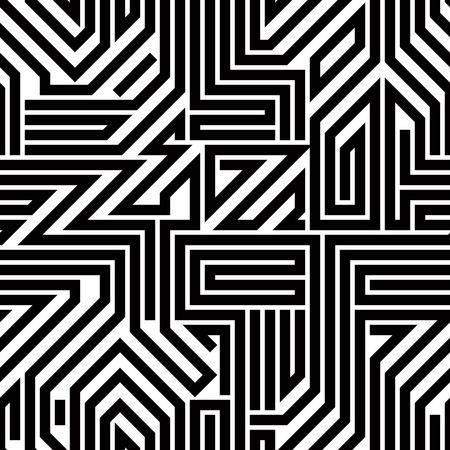 Abstract circuit board black and white seamless pattern, geometric lined vector background. 矢量图像