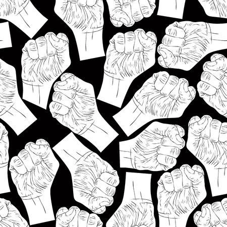 revolt: Clenched fists seamless pattern, black and white vector background for wallpapers, textile or other designs.