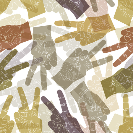 Victory hand signs seamless pattern, vector background for wallpapers, textile or other designs. Vector