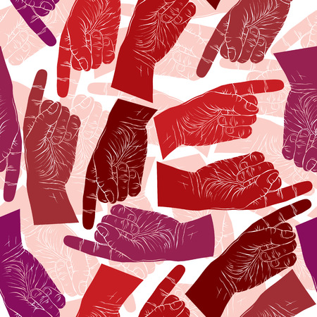 Finger pointing hands seamless pattern, vector background for wallpapers, textile or other designs. Vector