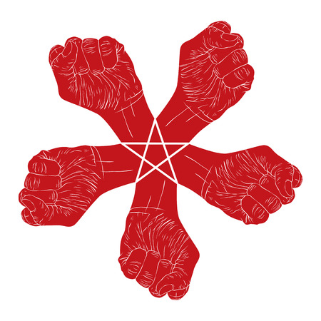 Five fists abstract symbol with five point star, black and white vector special emblem with human hands. Vector