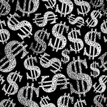 Dollar symbols seamless pattern, money theme repeating vector background. Vector