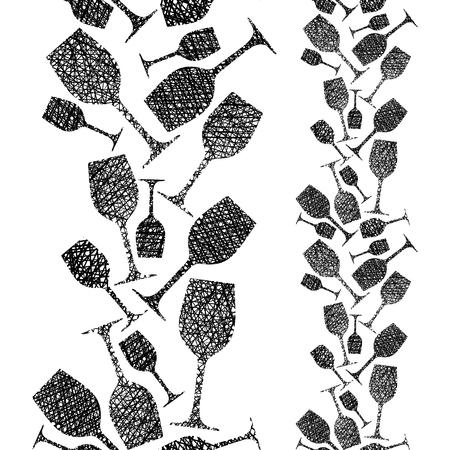 Glazen wijn naadloos patroon, Wijnmakerij thema naadloze achtergrond