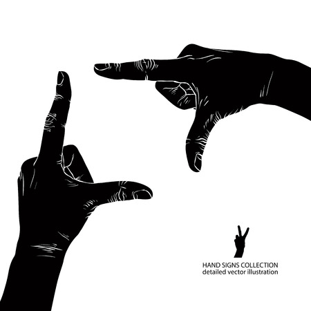 viewport: Hands shaped in viewfinder, detailed black and white vector illustration.