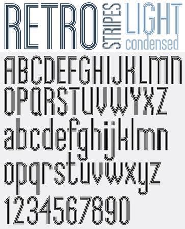 triple: Retro triple line stripes font, light version, pattern old style alphabet.