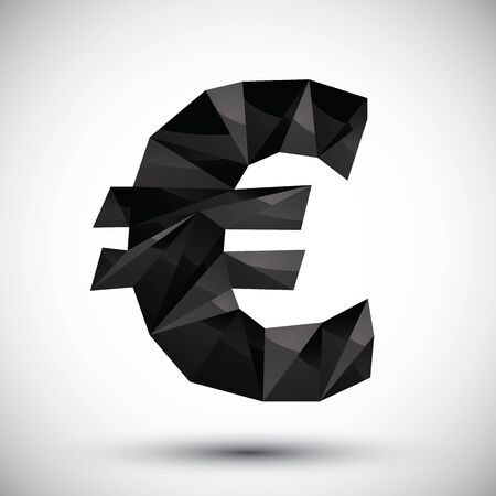 reaches: Black euro sign geometric icon made in 3d modern style