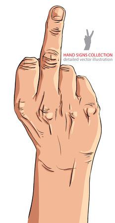 Middelvinger hand teken, gedetailleerde vector illustratie.