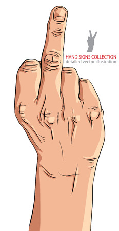 Middle finger hand sign, detailed vector illustration. Vector
