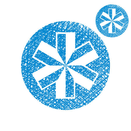 Blue-white snowflake vector simple single color icon isolated on white background with sketch lined hand drawn texture. Vector