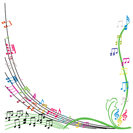 Music notes composition, stylish musical theme background, vector illustration. Stock Illustratie