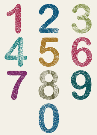 Hand drawn and sketched color numbers set, vector sketch style. Vector