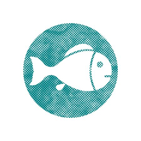 Fish symbol with pixel print halftone dots texture. Vector