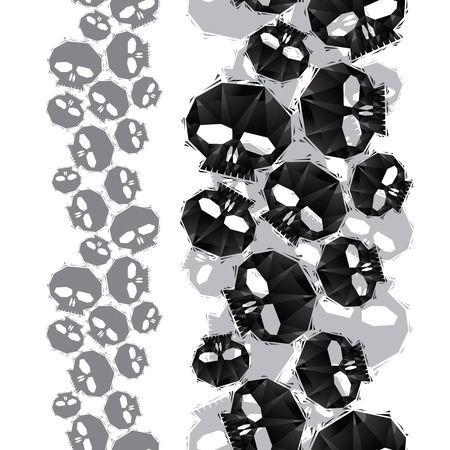 Skulls seamless pattern, vertical composition, geometric contemporary style repeating vector background Vector