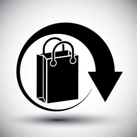 simple store: Shopping bag delivery vector simple single color icon.