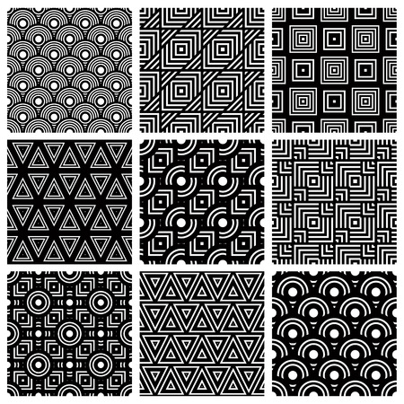 Black and white geometric seamless patterns set, vector backgrounds collection