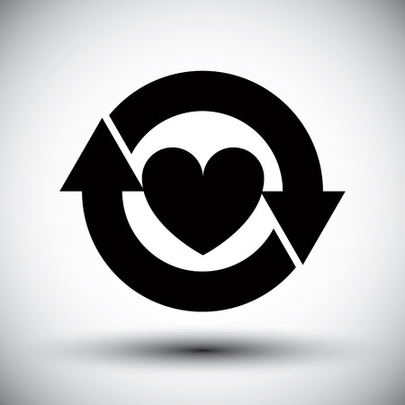 Heart surrounded by arrows vector simple single color icon.  Vector