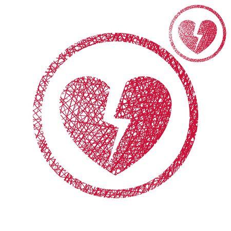 corazon roto: Broken heart vector icono simple de un solo color sobre fondo blanco con textura boceto dibujado a mano forrado.