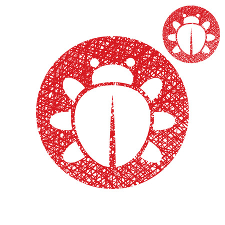Bug vector simple single color icon isolated on white background with sketch lined hand drawn texture. Vector