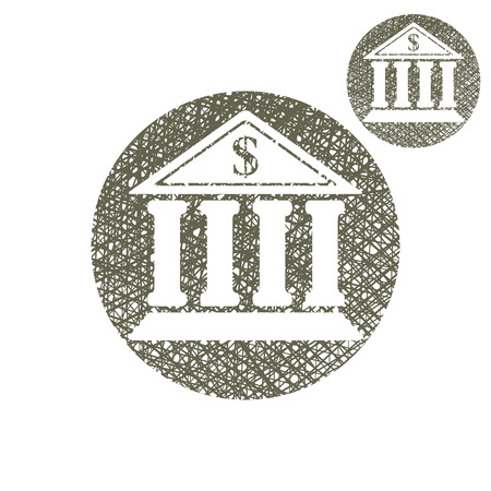 Bank building vector simple single color icon isolated on white background with sketch lined hand drawn texture. Vector