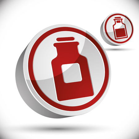 medical bottle: Medical bottle 3d vector icon isolated on white.