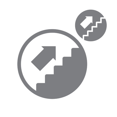 Stairs up vector simple single color icon isolated on white background  Vector
