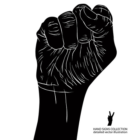 Clenched fist held high in protest hand sign, detailed black and white vector illustration. Vector