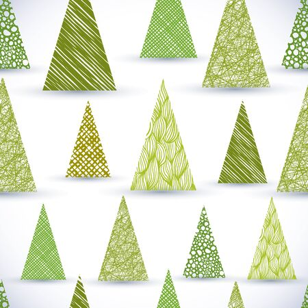 christmass tree: Christmass tree seamless pattern, hand drawn lines textures used. Illustration