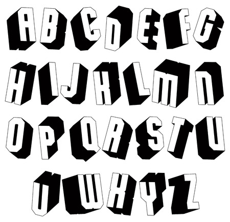 verbs: Geometric black and white 3d font, single color simple bold and heavy letters alphabet