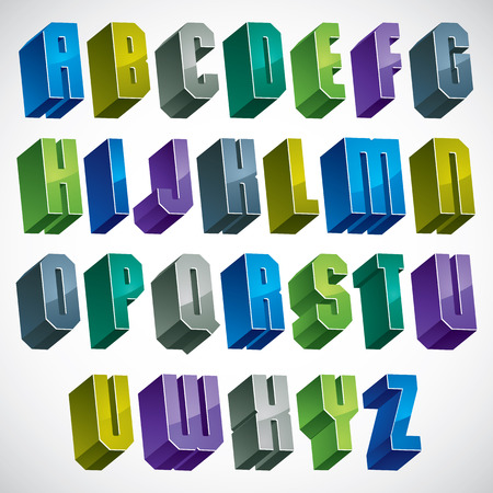 verbs: 3d colorful letters geometric alphabet, dimensional bold font in blue and green colors, bright and glossy letters