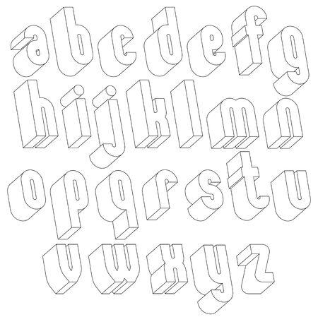 Black and white 3d font made with thin lines, single color simple and bold letters alphabet