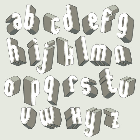 Bold and heavy 3d letters set, dimensional vector font, monochrome.