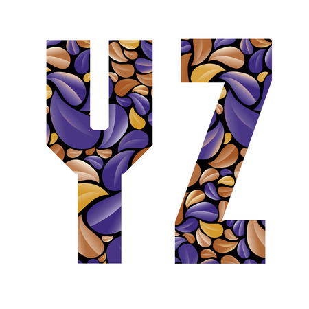 y shaped: Beautiful floral alphabet, vintage style patterned flower petals geometric shaped letters, bold geometric poster condensed alphabet, vector letter y and letter z.