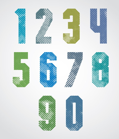 Halftone print dots textured numbers, grunge aged macro style, geometric poster numerals design.  Vector