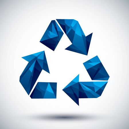 Blue recycle geometric icon made in 3d modern style Vector